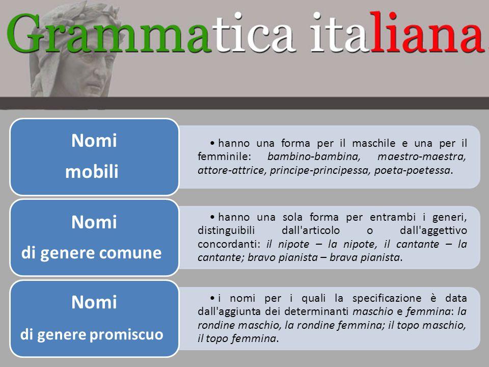 Grammatica teorica della lingua italiana ppt scaricare for Nomi di mobili