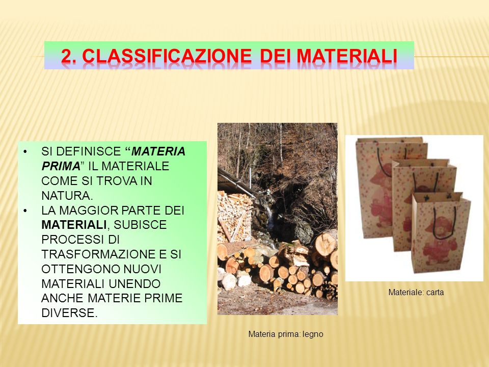 2. Classificazione dei materiali