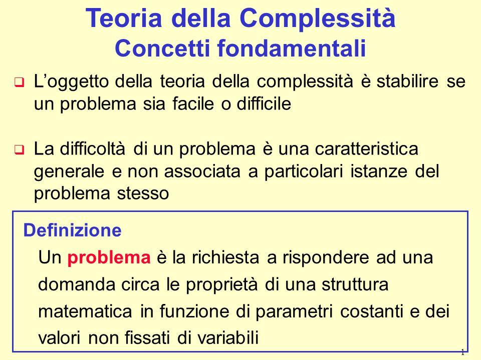 Teoria della Complessità Concetti fondamentali