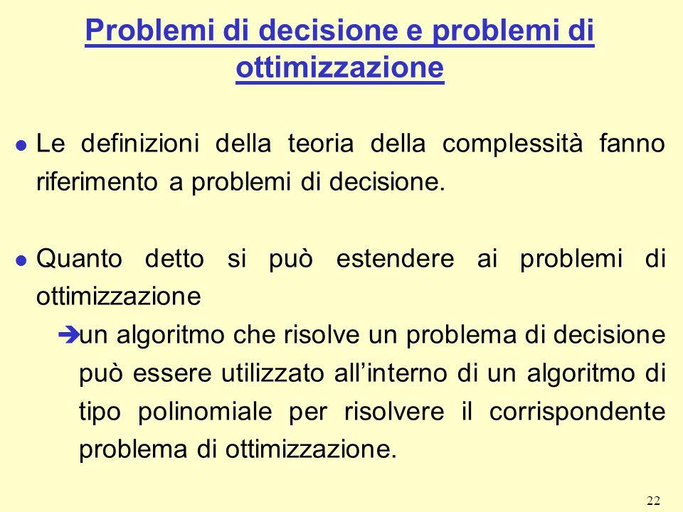 Problemi di decisione e problemi di ottimizzazione