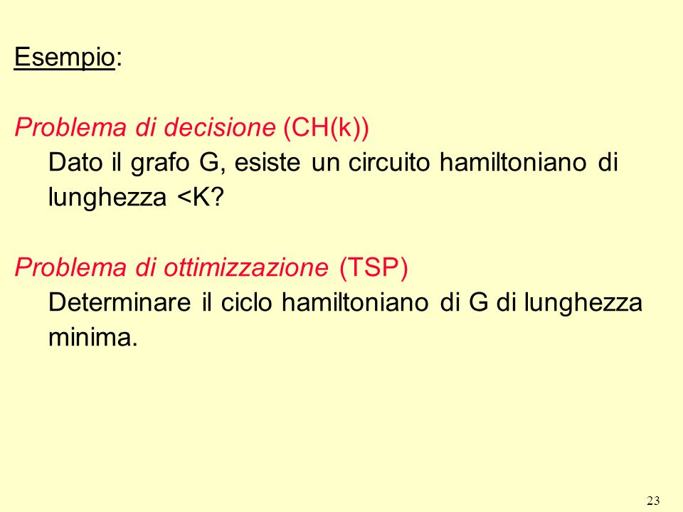 Esempio: Problema di decisione (CH(k)) Dato il grafo G, esiste un circuito hamiltoniano di lunghezza <K