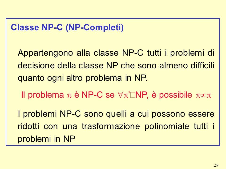 Il problema p è NP-C se p'ÎNP, è possibile pµp