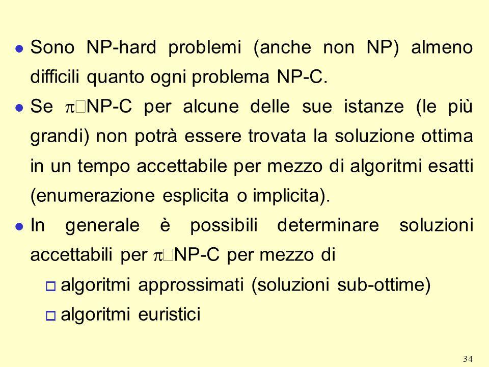 Sono NP-hard problemi (anche non NP) almeno difficili quanto ogni problema NP-C.