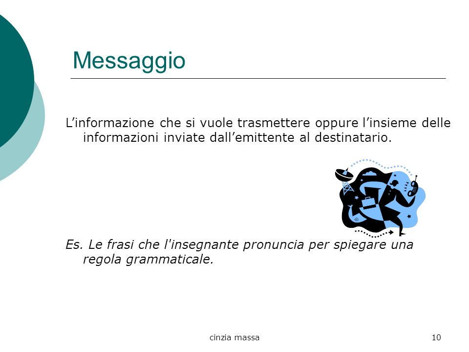 Messaggio L'informazione che si vuole trasmettere oppure l'insieme delle informazioni inviate dall'emittente al destinatario.