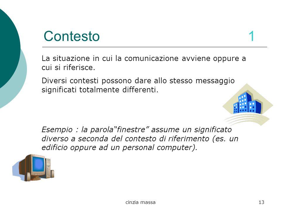 Contesto 1 La situazione in cui la comunicazione avviene oppure a cui si riferisce.