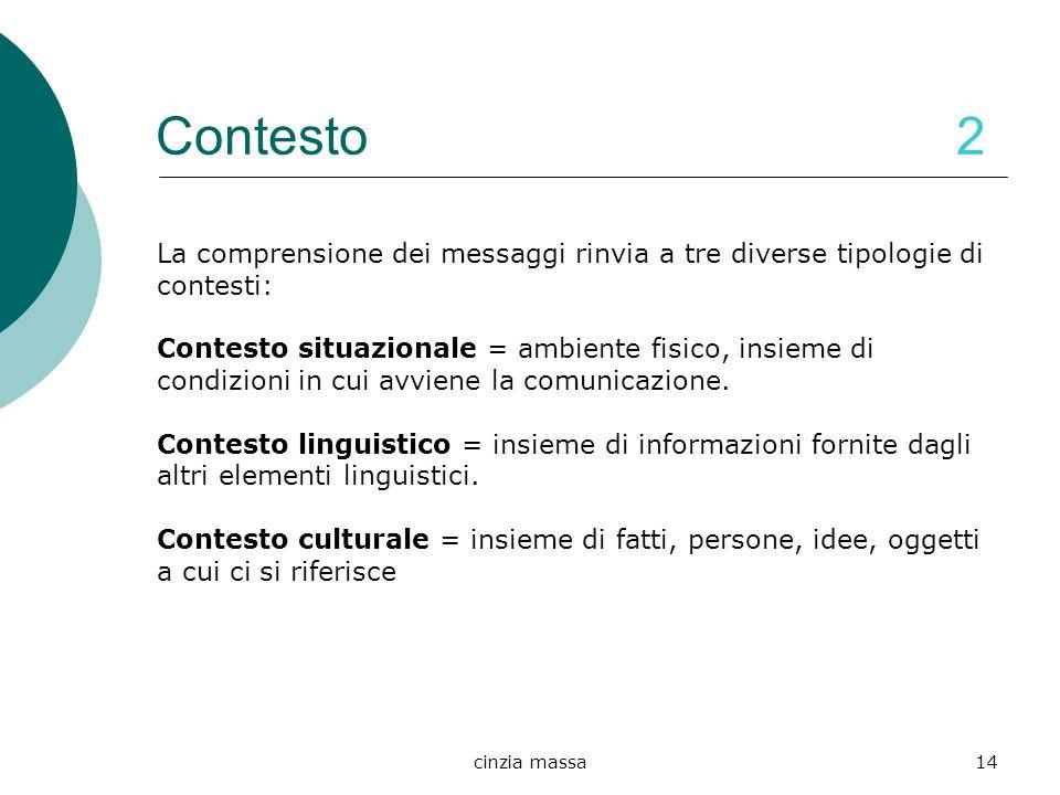 Contesto 2 La comprensione dei messaggi rinvia a tre diverse tipologie di contesti:
