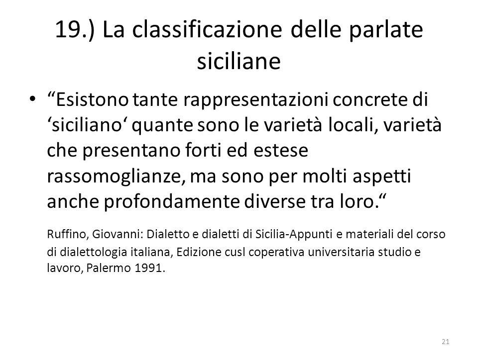 19.) La classificazione delle parlate siciliane