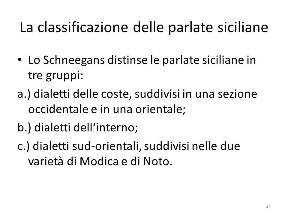 La classificazione delle parlate siciliane