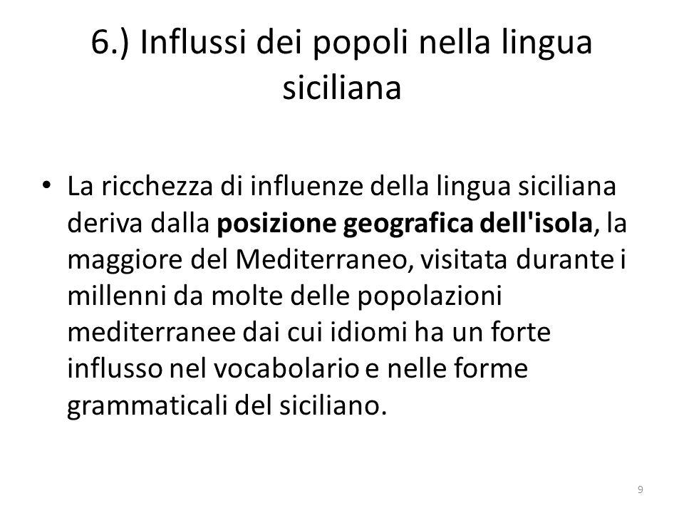 6.) Influssi dei popoli nella lingua siciliana