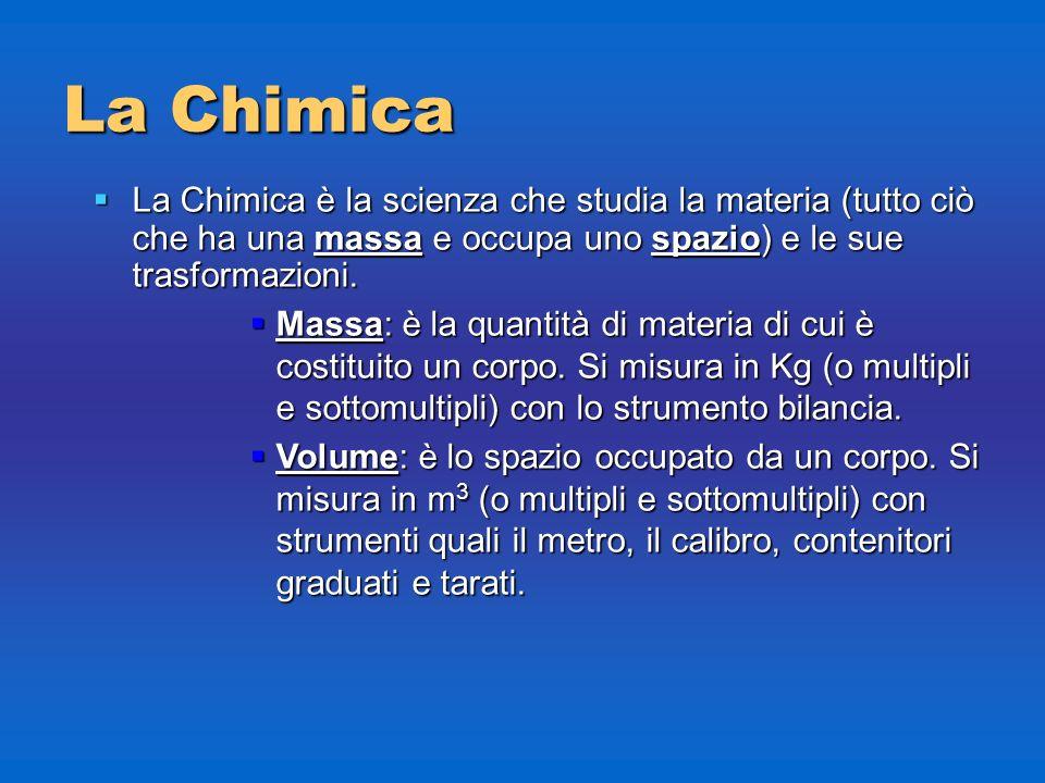 La Chimica La Chimica è la scienza che studia la materia (tutto ciò che ha una massa e occupa uno spazio) e le sue trasformazioni.