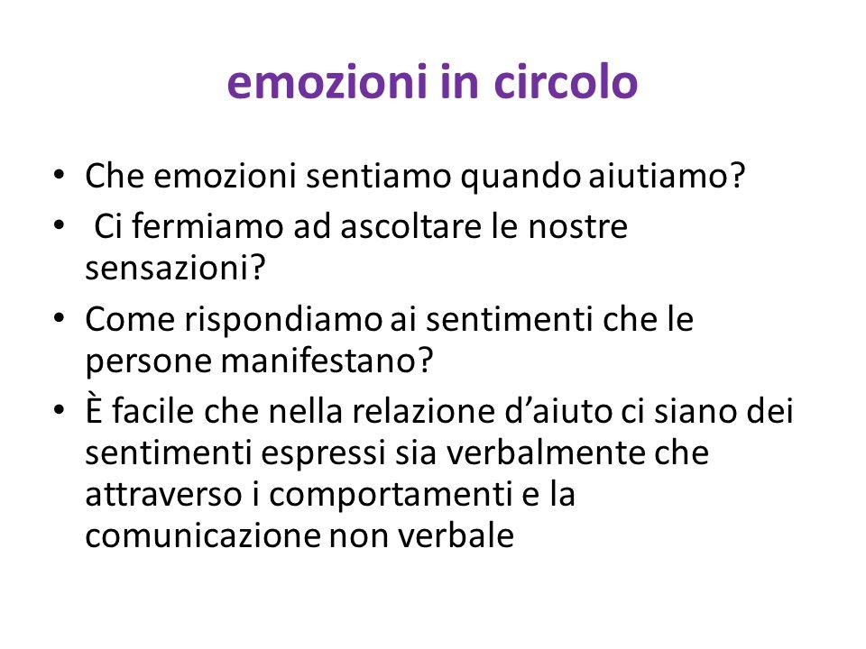 emozioni in circolo Che emozioni sentiamo quando aiutiamo