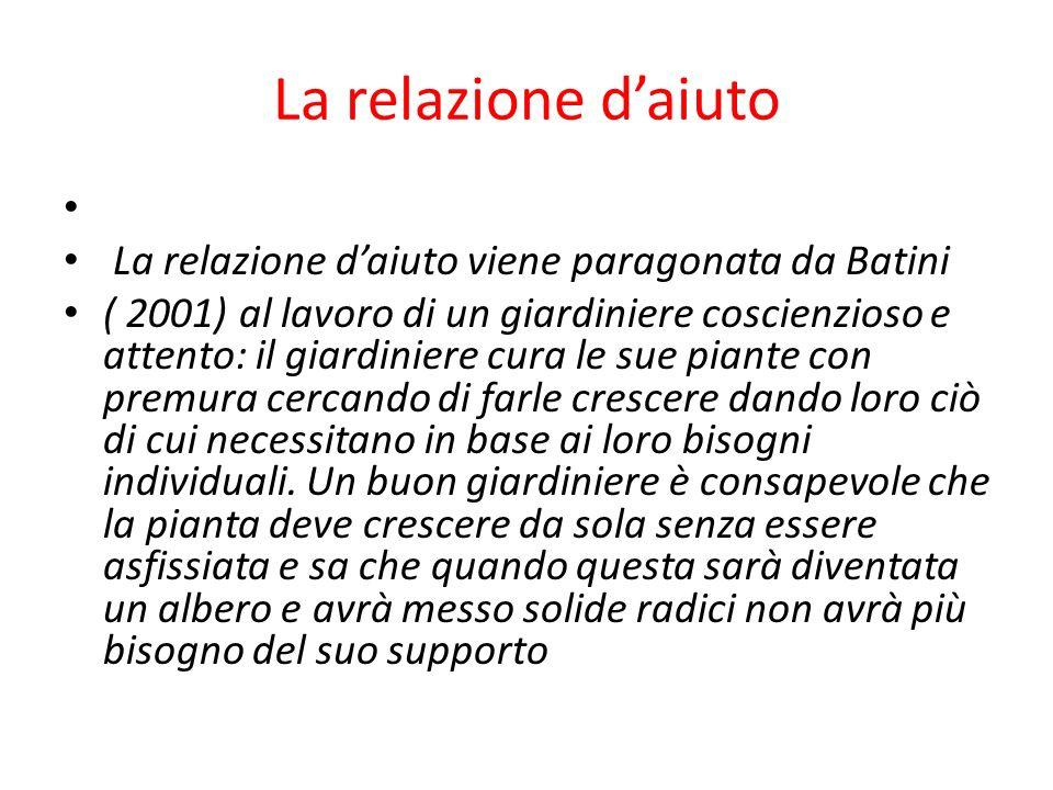 La relazione d'aiuto La relazione d'aiuto viene paragonata da Batini