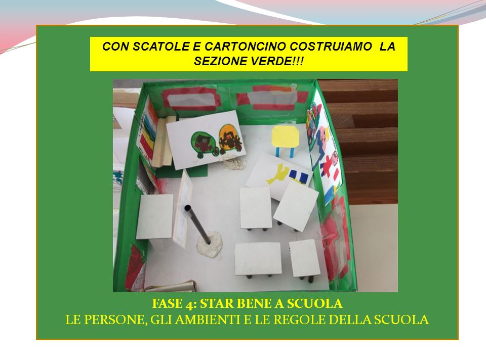CON SCATOLE E CARTONCINO COSTRUIAMO LA SEZIONE VERDE!!!