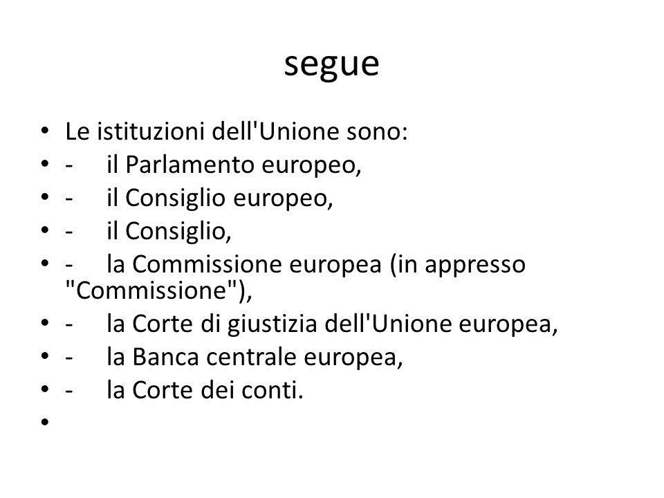segue Le istituzioni dell Unione sono: - il Parlamento europeo,
