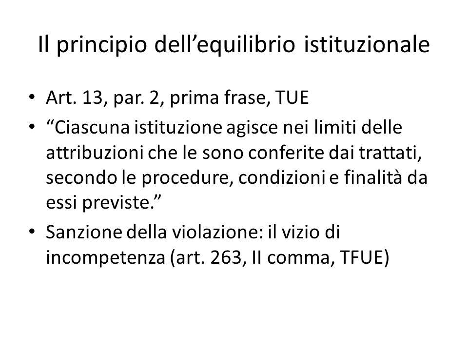 Il principio dell'equilibrio istituzionale