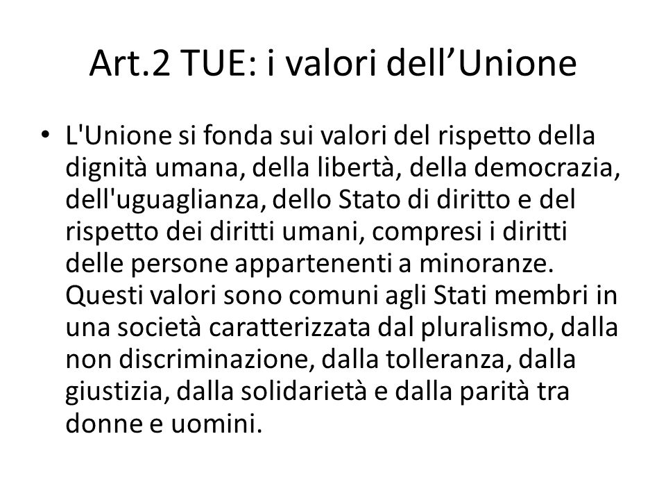 Art.2 TUE: i valori dell'Unione