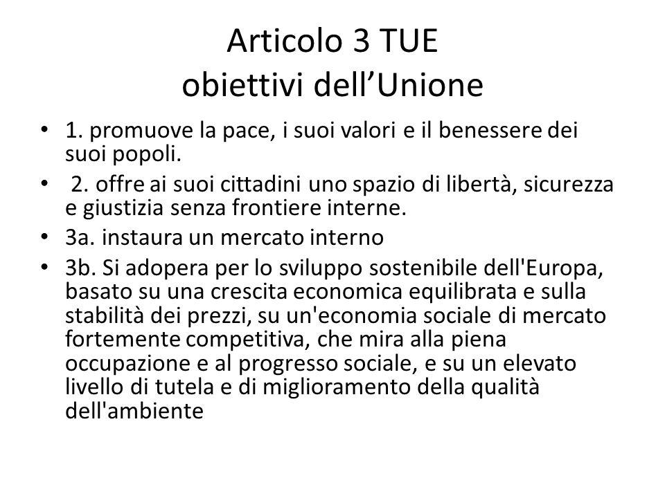 Articolo 3 TUE obiettivi dell'Unione