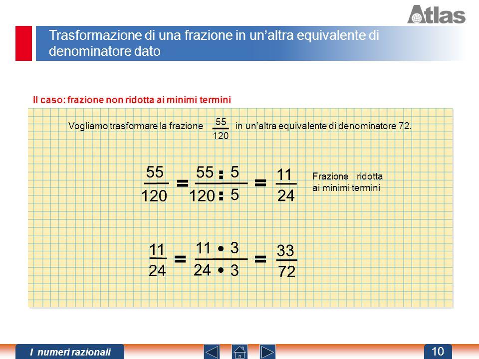 Trasformazione di una frazione in un'altra equivalente di denominatore dato
