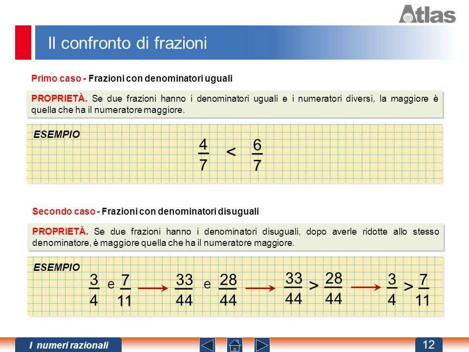 < > > Il confronto di frazioni 4 7 6 7 3 4 7 11 33 44 28 44