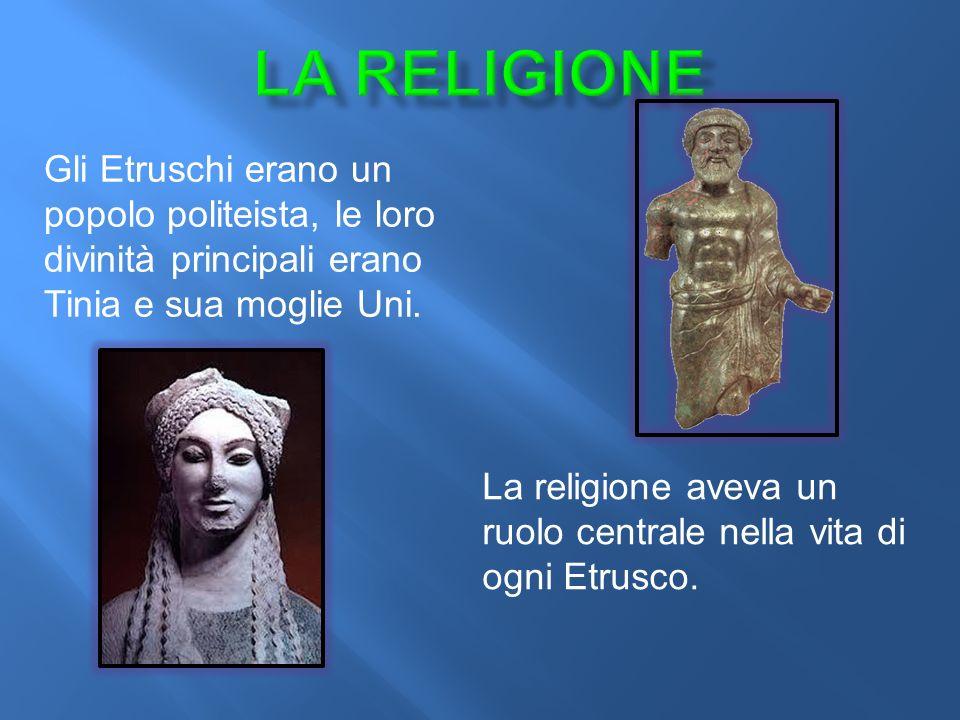 La religione Gli Etruschi erano un popolo politeista, le loro divinità principali erano Tinia e sua moglie Uni.
