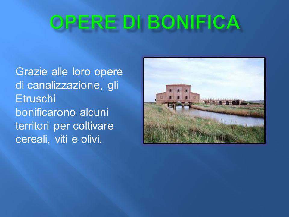 Opere di BONIFICA Grazie alle loro opere di canalizzazione, gli Etruschi.