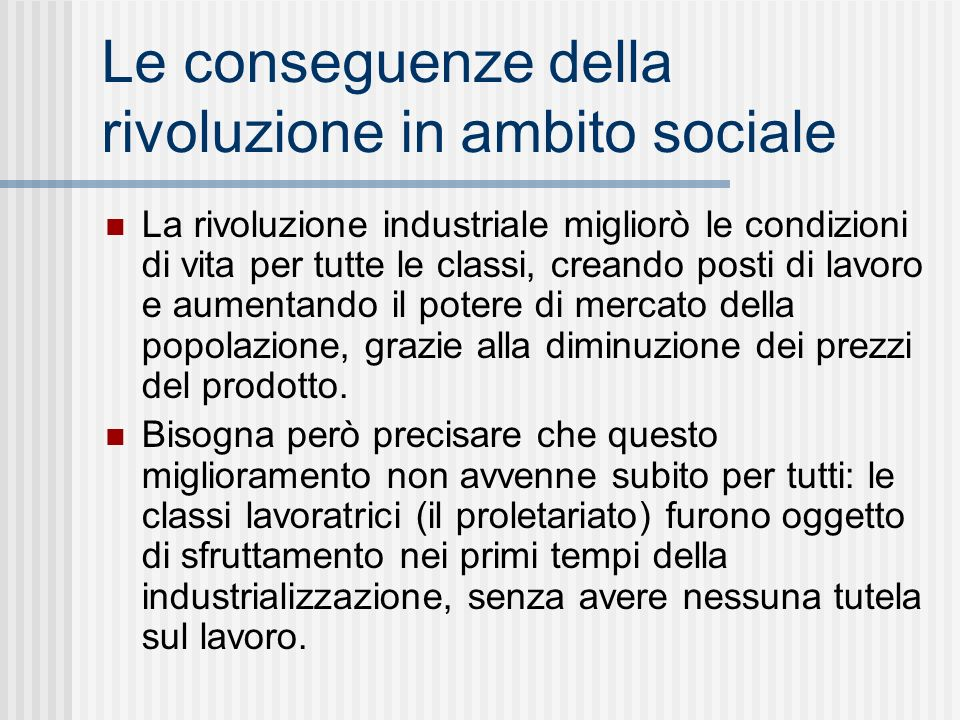 Le conseguenze della rivoluzione in ambito sociale