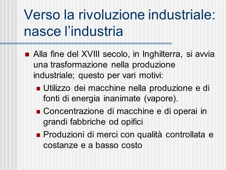 Verso la rivoluzione industriale: nasce l'industria