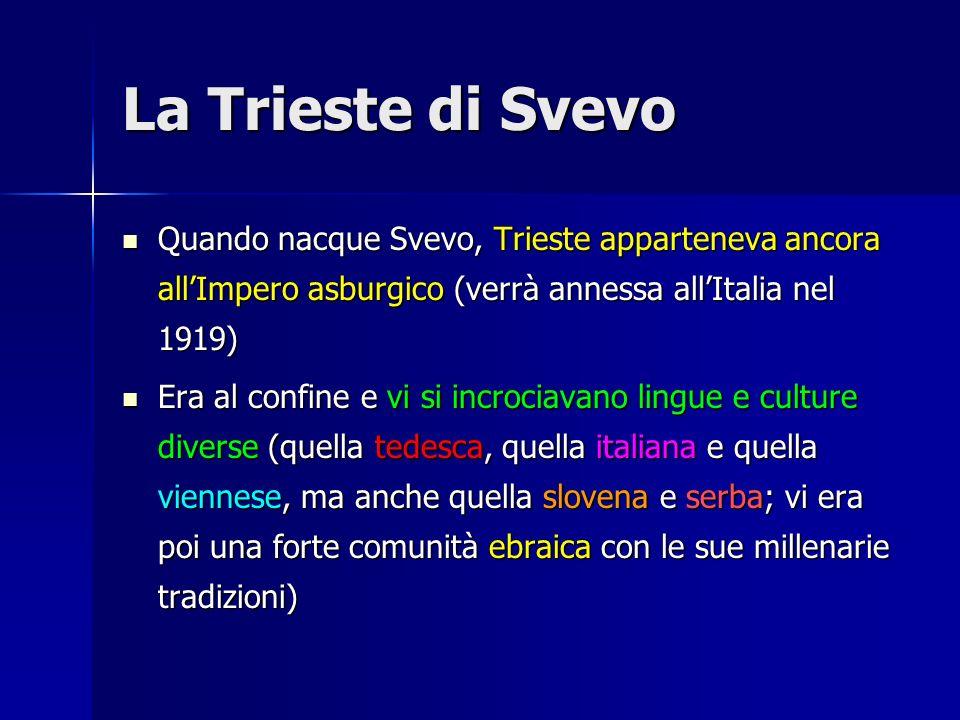 La Trieste di Svevo Quando nacque Svevo, Trieste apparteneva ancora all'Impero asburgico (verrà annessa all'Italia nel 1919)