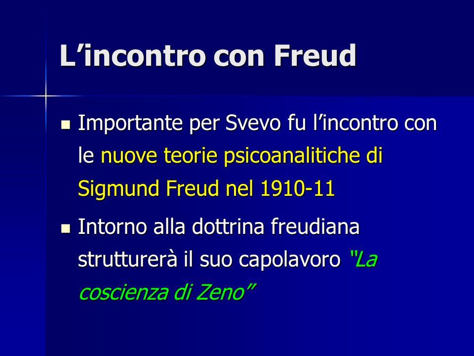 L'incontro con Freud Importante per Svevo fu l'incontro con le nuove teorie psicoanalitiche di Sigmund Freud nel 1910-11.