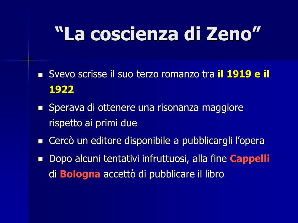 La coscienza di Zeno Svevo scrisse il suo terzo romanzo tra il 1919 e il 1922. Sperava di ottenere una risonanza maggiore rispetto ai primi due.