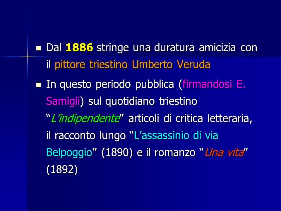 Dal 1886 stringe una duratura amicizia con il pittore triestino Umberto Veruda