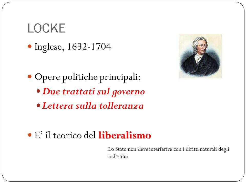 LOCKE Inglese, 1632-1704 Opere politiche principali: