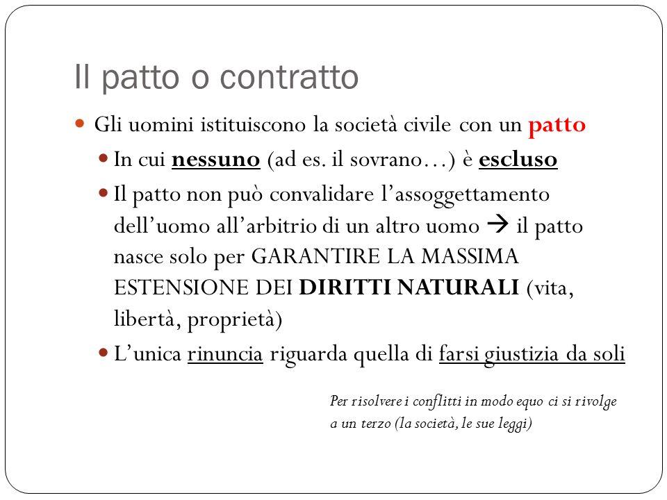 Il patto o contratto Gli uomini istituiscono la società civile con un patto. In cui nessuno (ad es. il sovrano…) è escluso.
