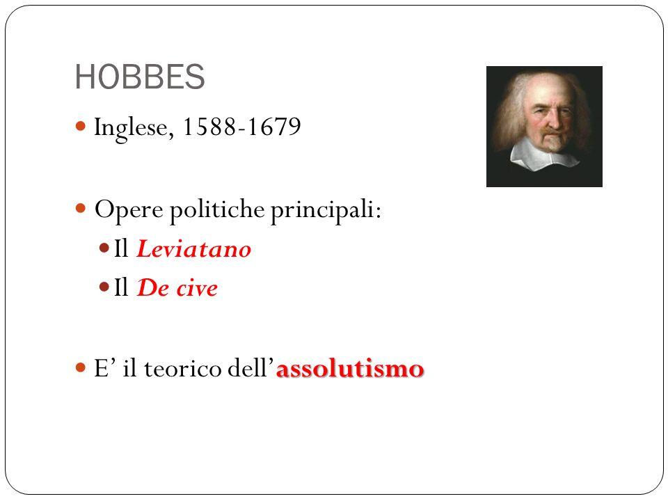 HOBBES Inglese, 1588-1679 Opere politiche principali: Il Leviatano