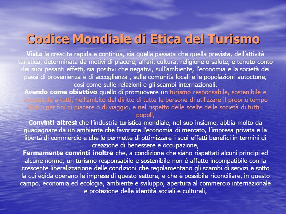 Codice Mondiale di Etica del Turismo