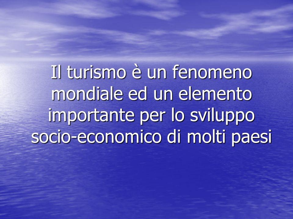 Il turismo è un fenomeno mondiale ed un elemento importante per lo sviluppo socio-economico di molti paesi