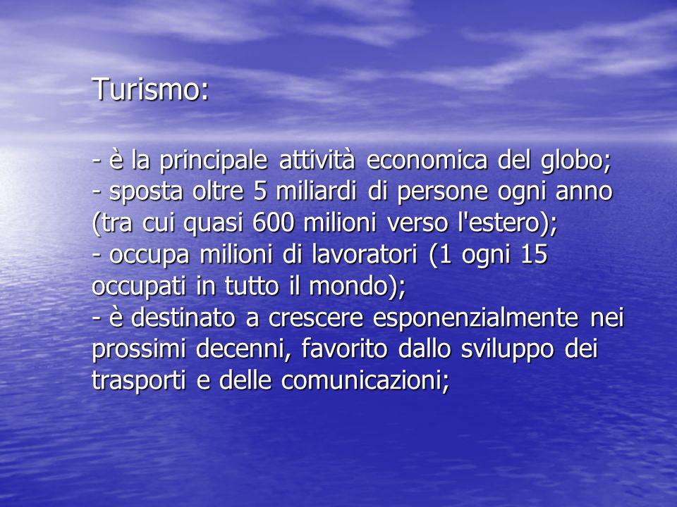 Turismo: - è la principale attività economica del globo; - sposta oltre 5 miliardi di persone ogni anno (tra cui quasi 600 milioni verso l estero); - occupa milioni di lavoratori (1 ogni 15 occupati in tutto il mondo); - è destinato a crescere esponenzialmente nei prossimi decenni, favorito dallo sviluppo dei trasporti e delle comunicazioni;