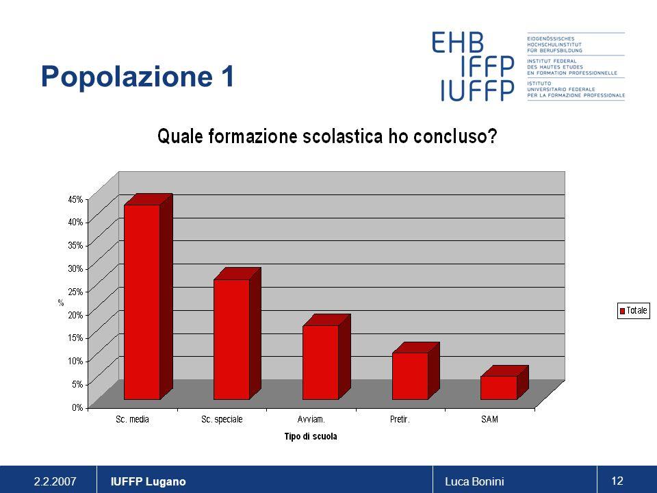 Popolazione 1 IUFFP Lugano