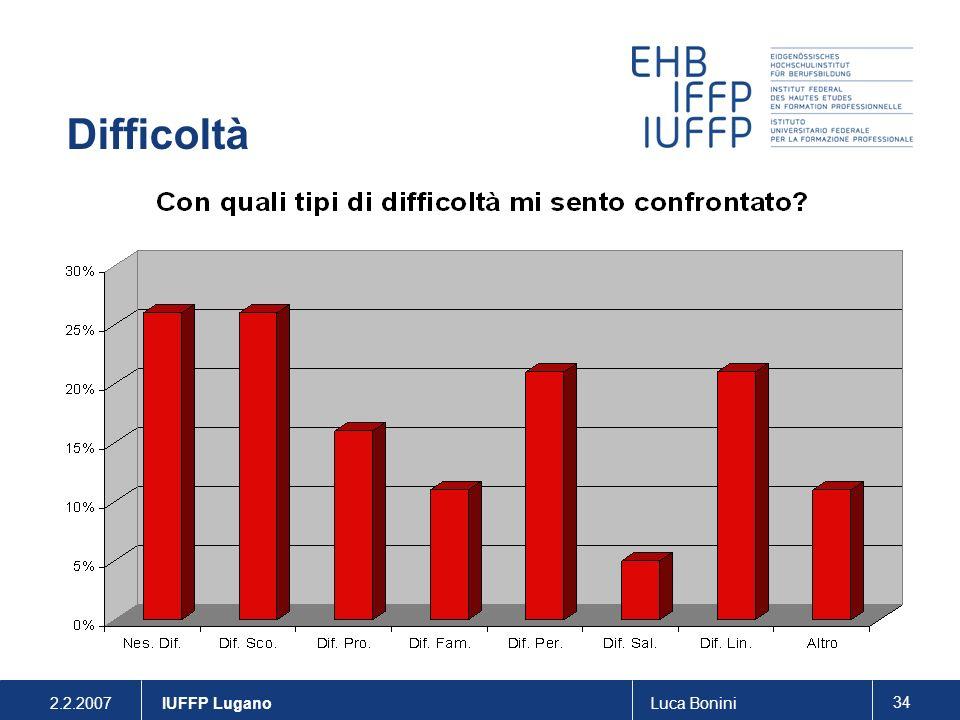 Difficoltà . IUFFP Lugano