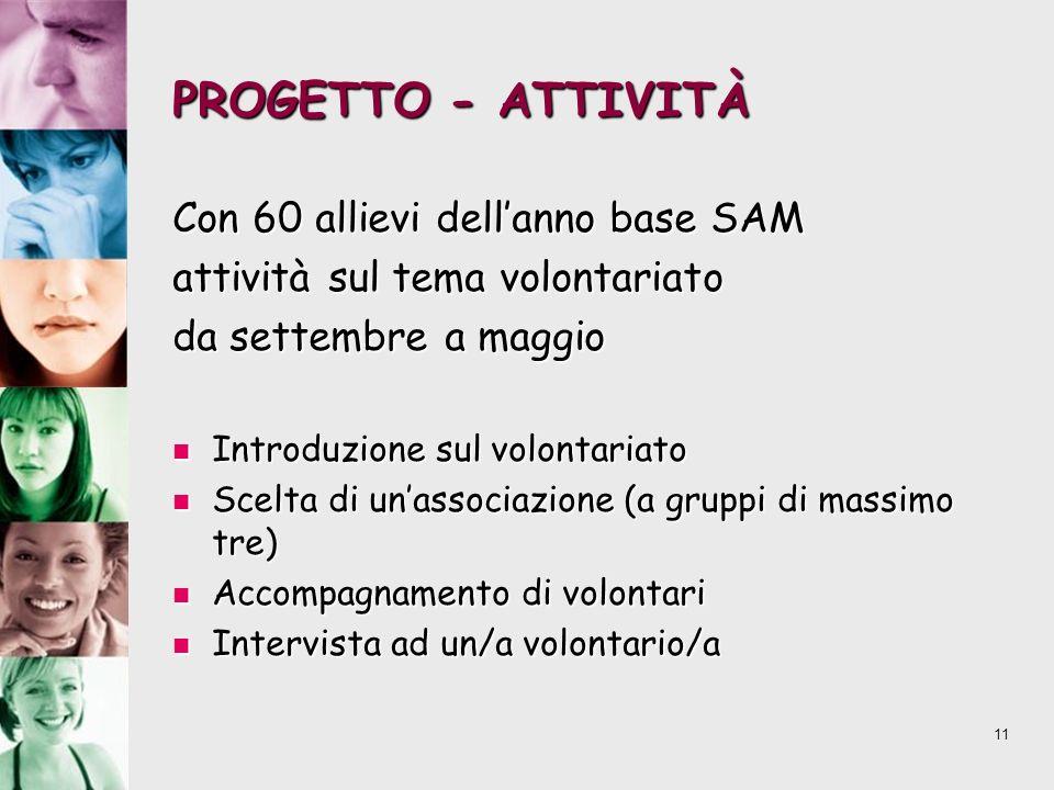 PROGETTO - ATTIVITÀ Con 60 allievi dell'anno base SAM
