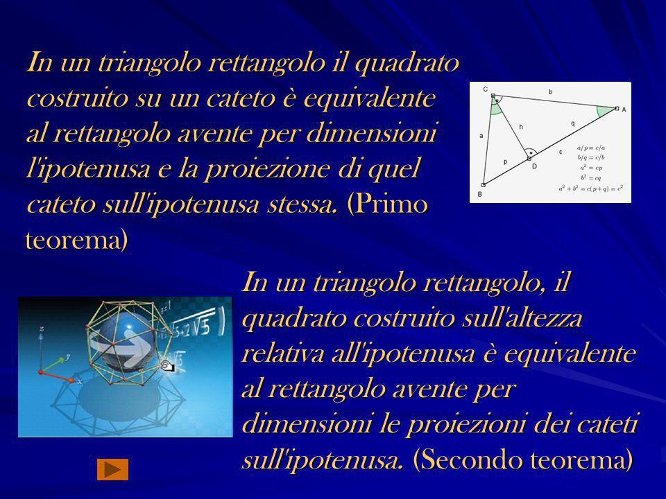 In un triangolo rettangolo il quadrato costruito su un cateto è equivalente al rettangolo avente per dimensioni l ipotenusa e la proiezione di quel cateto sull ipotenusa stessa. (Primo teorema)
