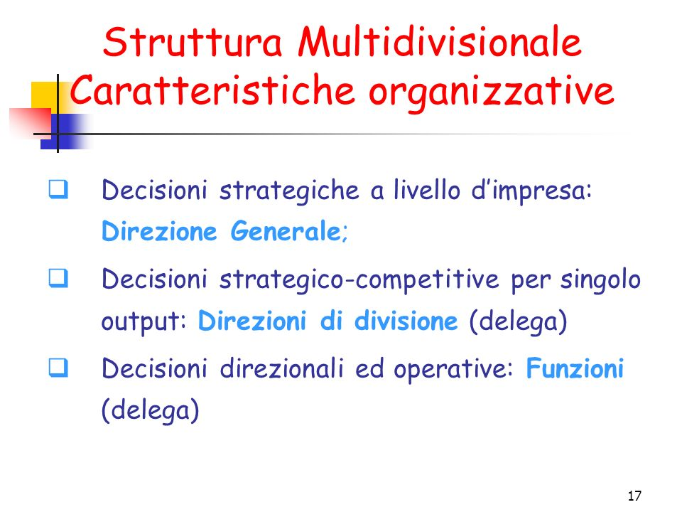 Struttura Multidivisionale Caratteristiche organizzative