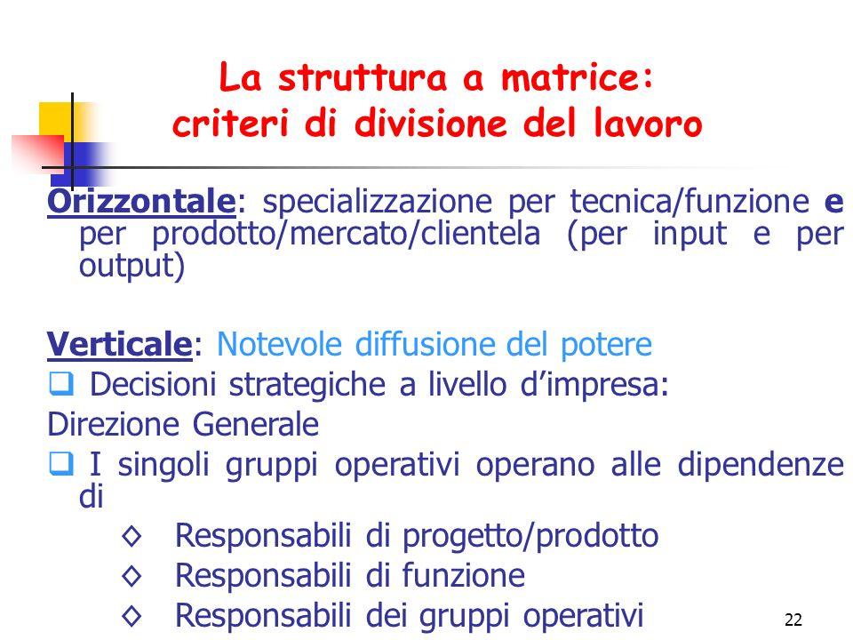 La struttura a matrice: criteri di divisione del lavoro