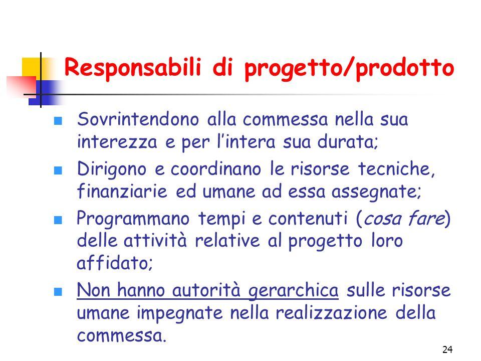 Responsabili di progetto/prodotto