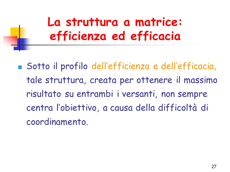 La struttura a matrice: efficienza ed efficacia