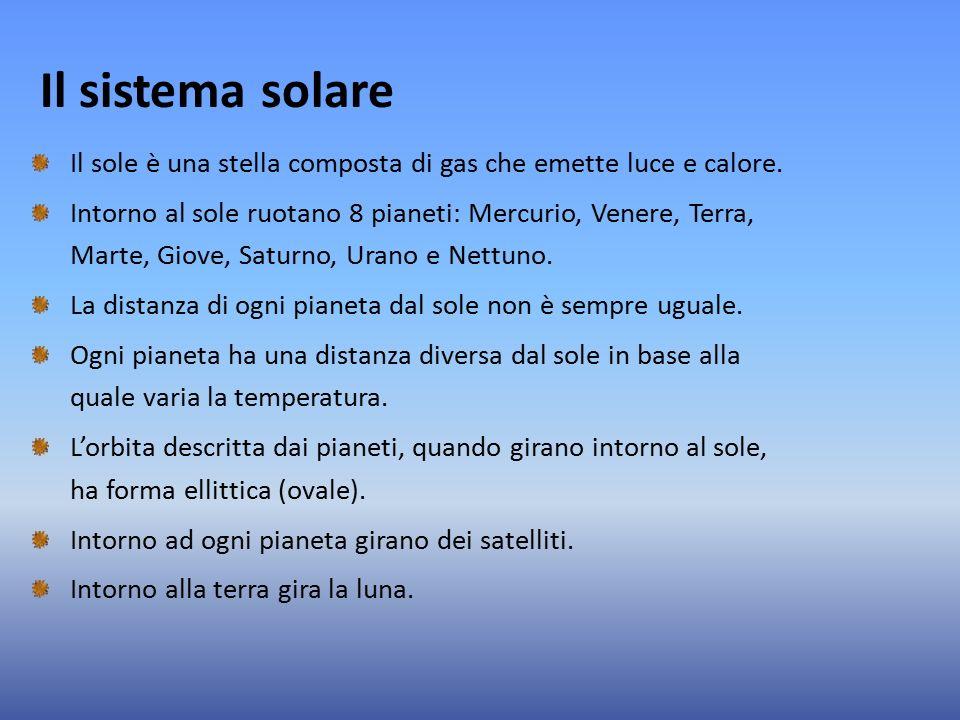 Il sistema solare Il sole è una stella composta di gas che emette luce e calore.