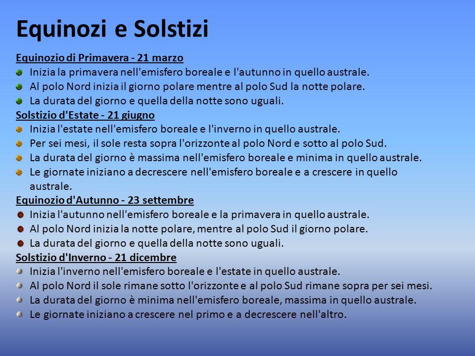 Equinozi e Solstizi Equinozio di Primavera - 21 marzo