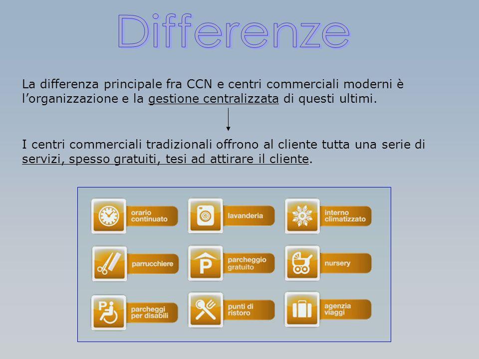 Differenze La differenza principale fra CCN e centri commerciali moderni è l'organizzazione e la gestione centralizzata di questi ultimi.