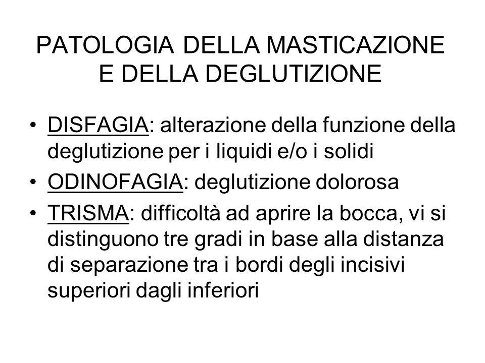 PATOLOGIA DELLA MASTICAZIONE E DELLA DEGLUTIZIONE