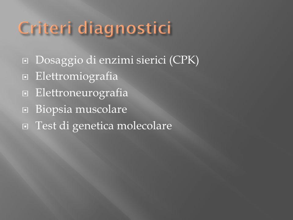 Criteri diagnostici Dosaggio di enzimi sierici (CPK) Elettromiografia